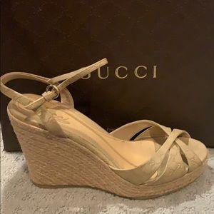 Gucci Espadrilles Wedge Sandals 39 9.5